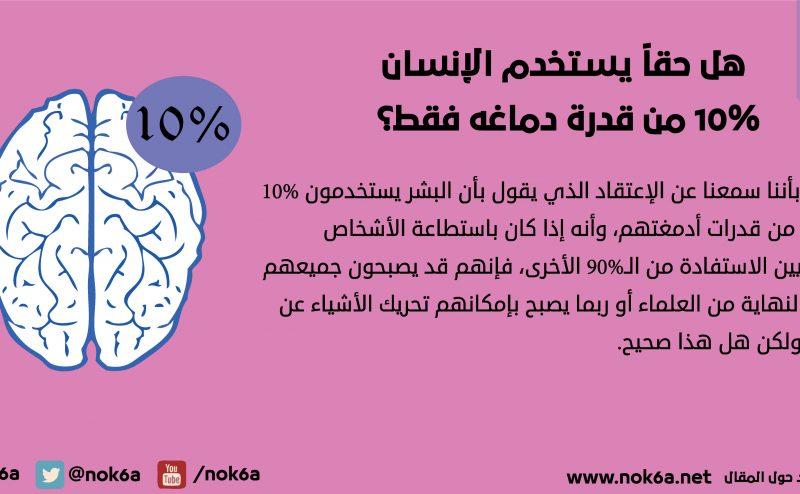 هل حقاً يستخدم الإنسان 10% من قدرة دماغه فقط؟