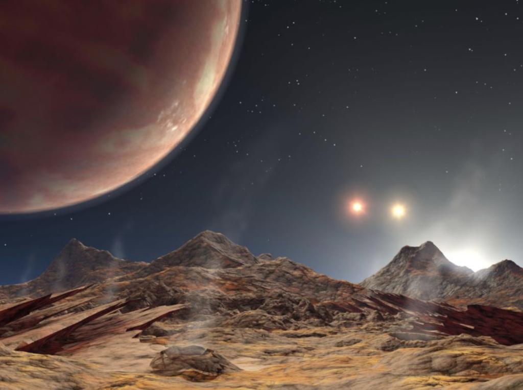 صورة تخيلية توضح الكوكب LTT 1445Ab حول نجومه الثلاث. المصدر: ناسا.